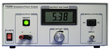 T200 modulated power supply for applications such as battery simulator, PSRR measurement, and high current amplifier.