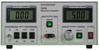 Waveform generator amplifier outputs high current, high voltage, or high power. Its applications include piezo driver and ultrasonic amplifier.