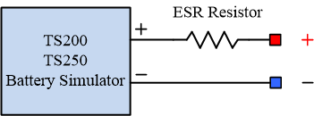 Battery ESR is simulated using an external resistor.